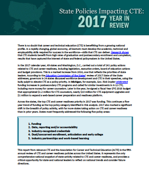 CTE Policy Watch – New Report: 2017 State CTE Policy Review